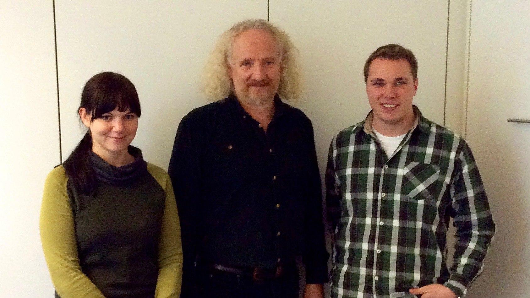Wolfgang Schlagwein mit seinen Mitarbeitern Marina Zahn und Robert Kolle